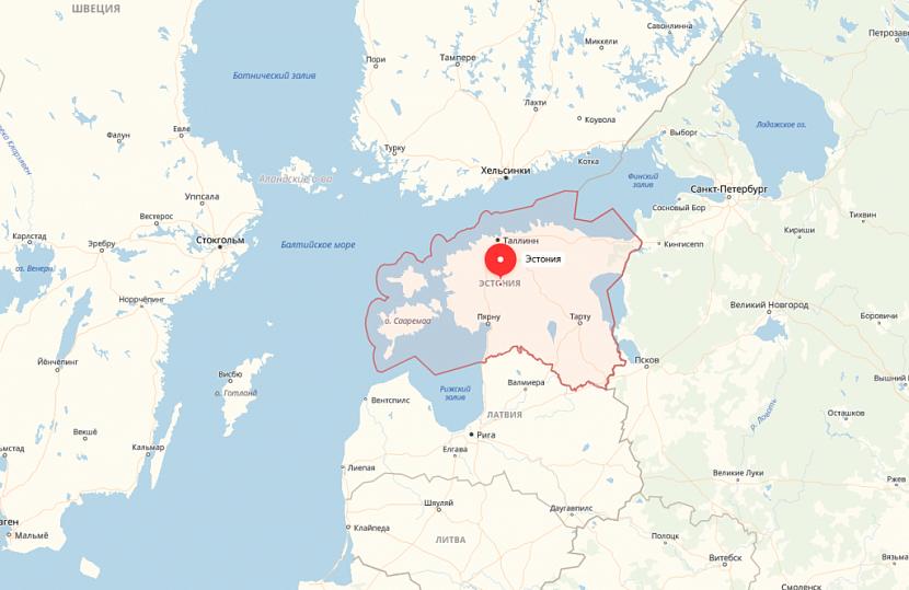Эстония на карте Европы