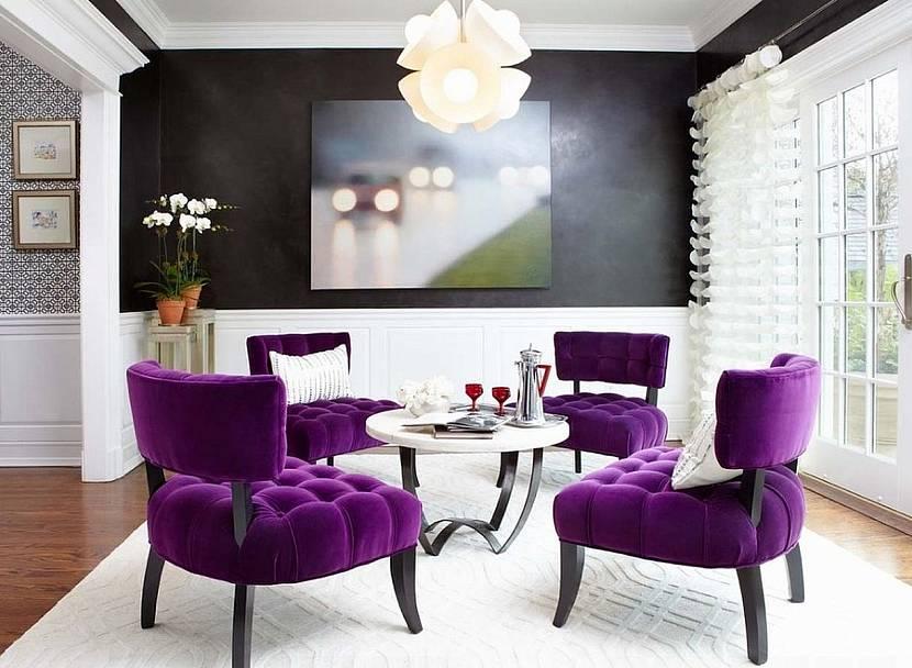 Фиолетовая мягкая мебель