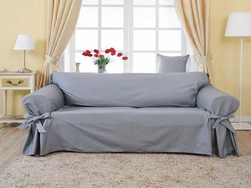 Серый чехол для дивана