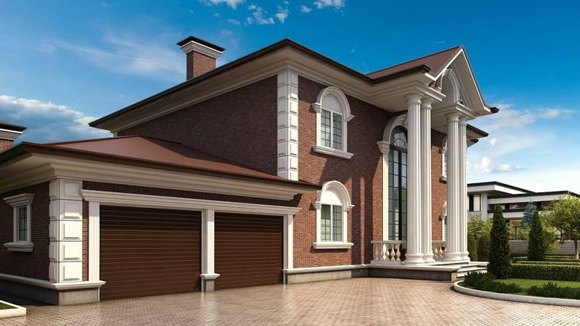 двухэтажный дом с гаражом на две машины