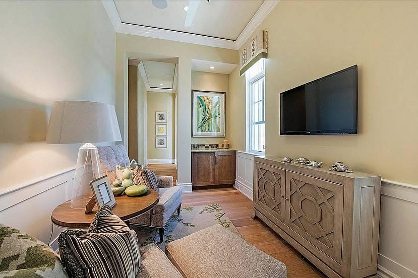 Дизайн длинной гостиной