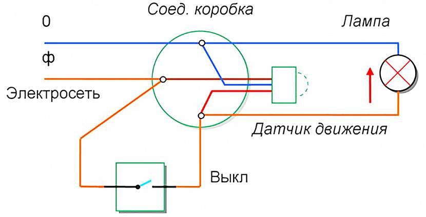 Схема подключения датчика с выключателем