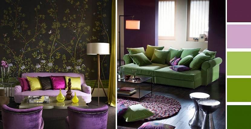 Зеленый и фиолетовый в дизайне