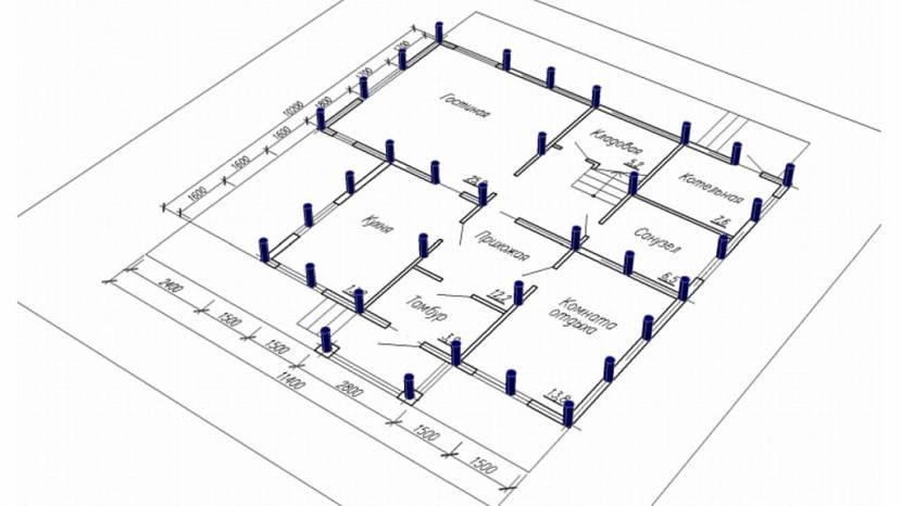 привязка свайного поля к проекту дома