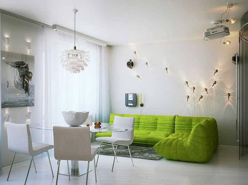 Белый фон и зеленый диван