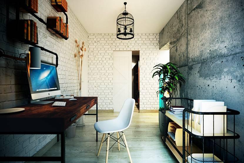 Рабочий кабинет со столом в стиле лофт