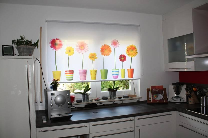 Рулонные шторы с рисунком на кухню