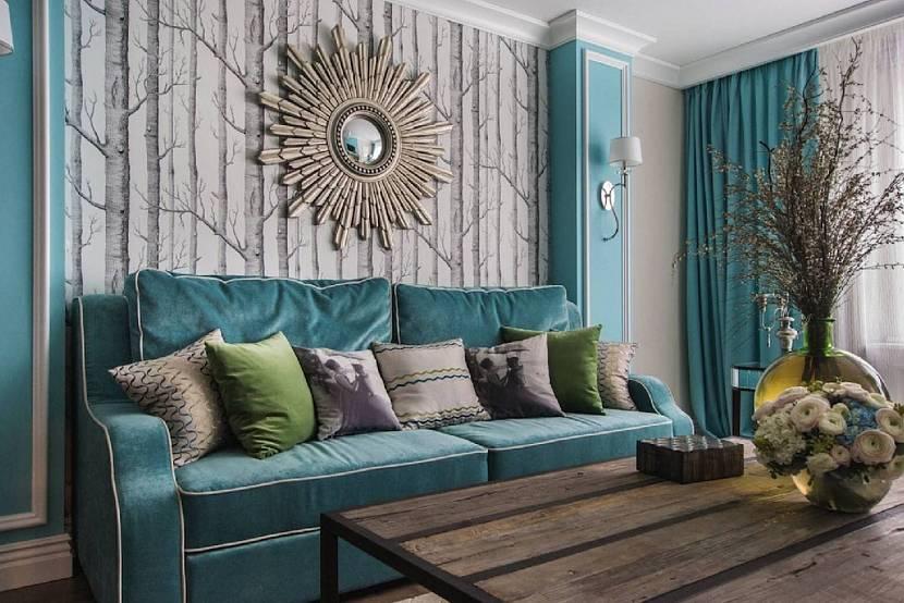 Серо-изумрудная палитра гостиной в стиле тиффани