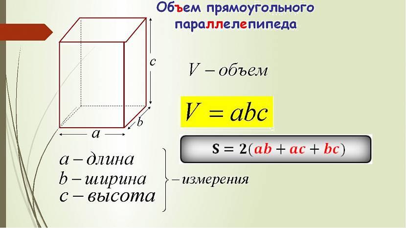 Формула объёма и площади