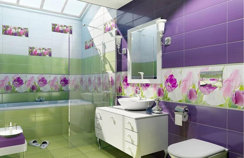 Зеленая и фиолетовая плитка для ванной