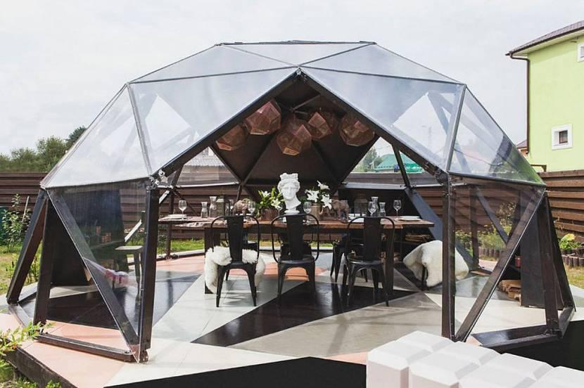 монтаж крыши для беседки из поликарбоната