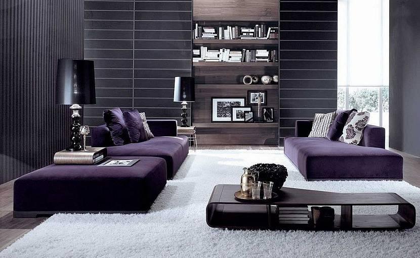 Фиолетовая мебель в сером интерьере