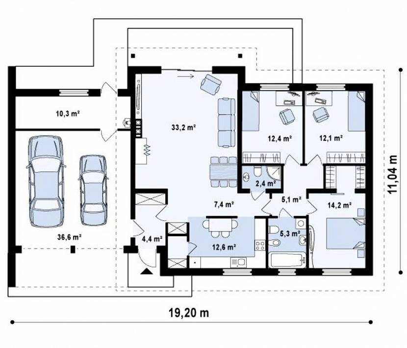 одноэтажный дом с гаражом на 2 машины