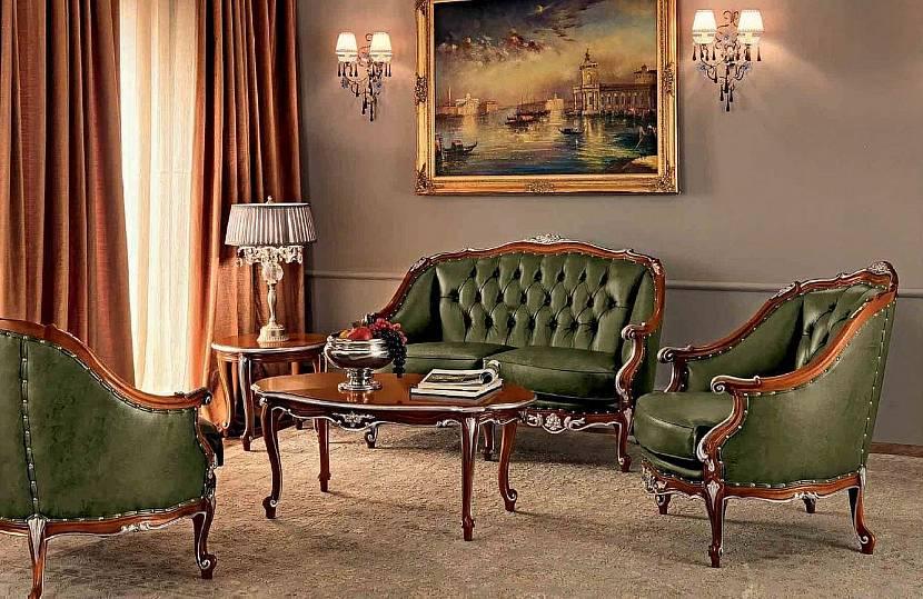 Кабинет с зеленым диваном