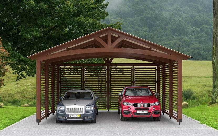 Навес с двускатной крышей для двух машин