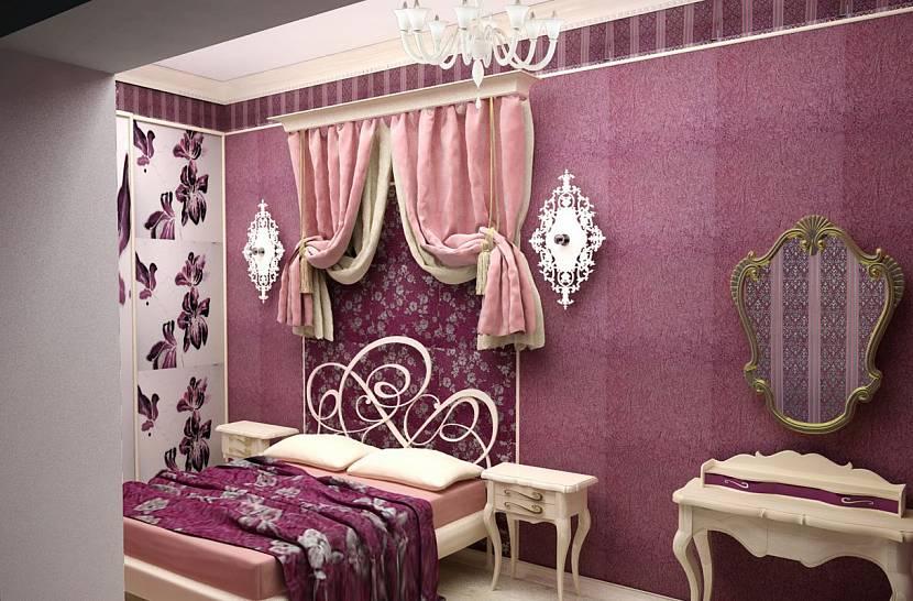Темная розовая комната