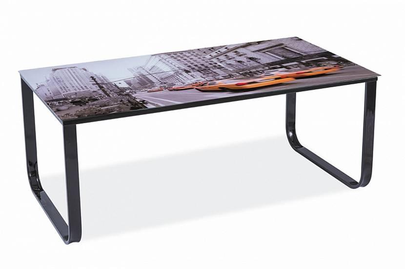 Стеклянный стол в стиле лофт с фотопечатью
