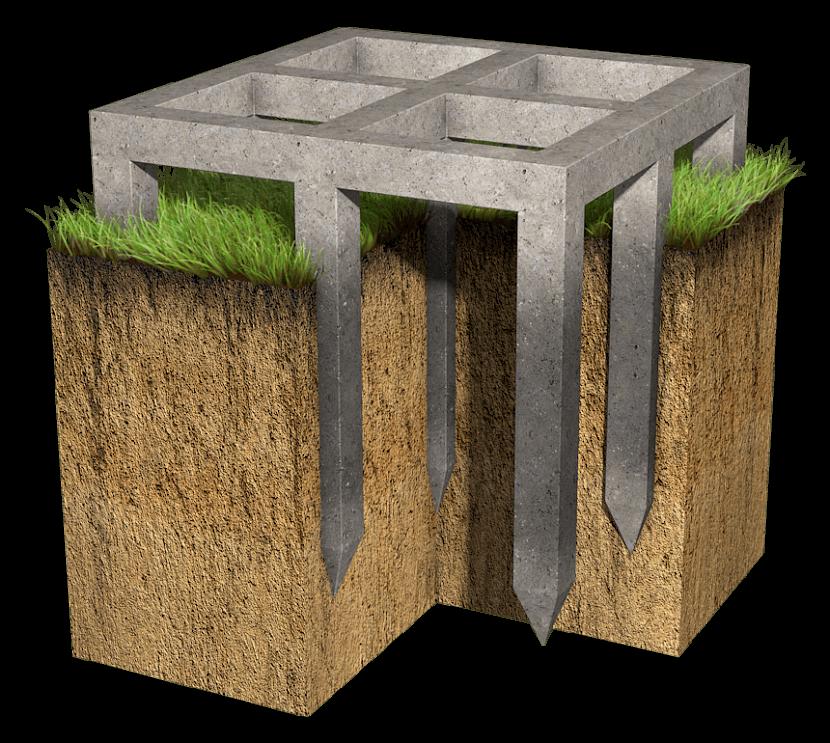 Железобетонный фундамент с ростверком