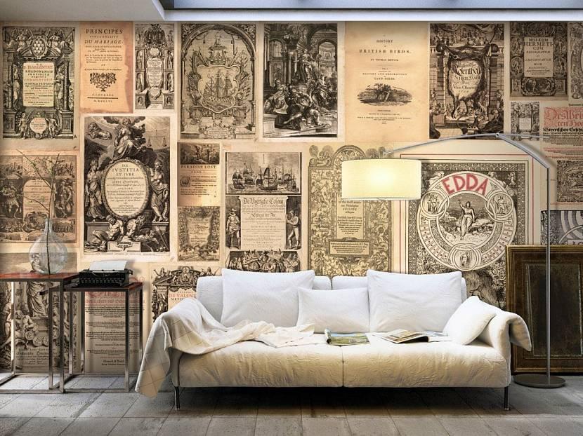 Стены комнаты в интерьере ретро