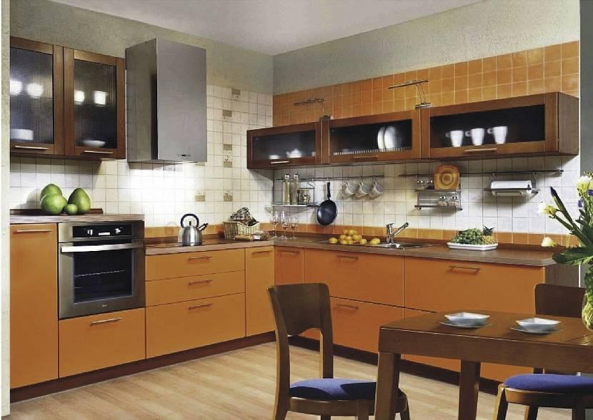 Терракотовая мебель на кухне