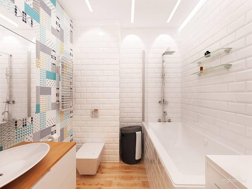 Белая плитка для маленькой ванной комнаты с разбавлением акцентами