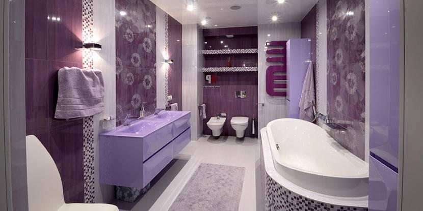 Ванные комнаты в сиреневом цвете