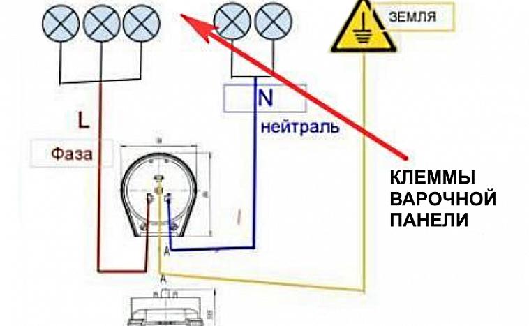 схема подключения духового шкафа и варочной панели