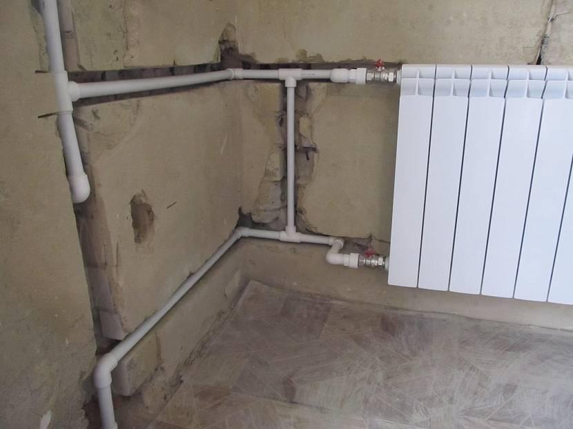 Прокладка труб отопления внутри стен