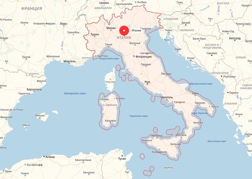 Италия на карте Европы