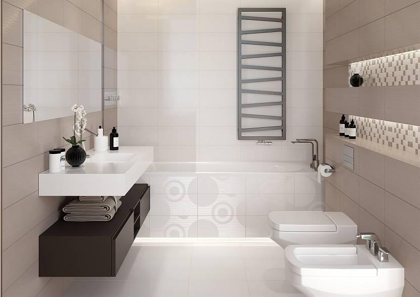 Глянец и тиснение в дизайне плитки для малогабаритной ванной комнаты
