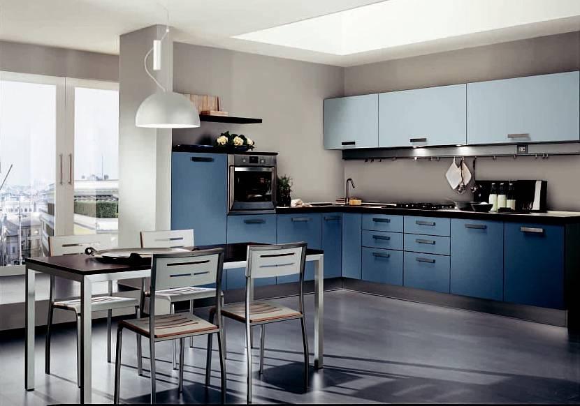 Сине-серая кухня