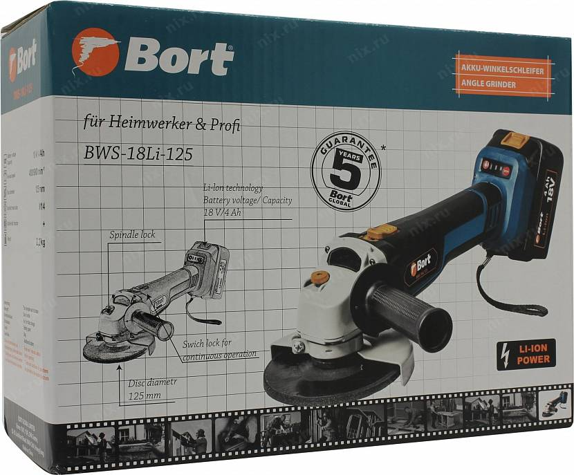 Bort BWS-18Li-125 для шлифовки и резки