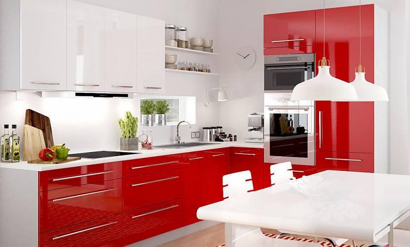 Интерьер в красном и белом