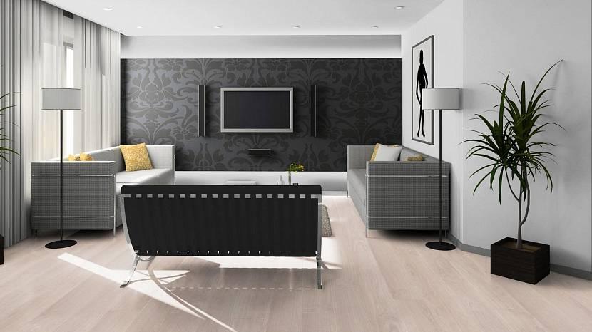 Черные обои в просторной гостиной комнате