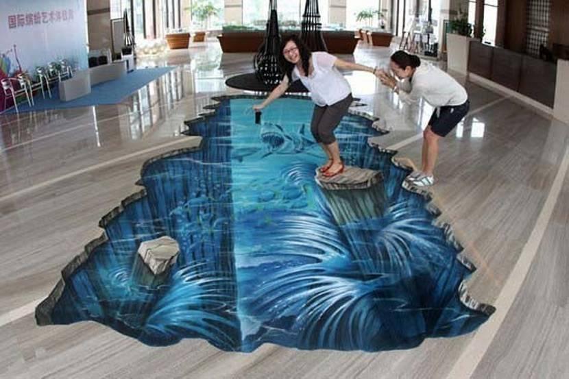 Объёмный рисунок на полу