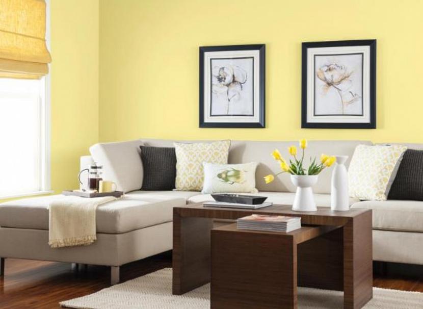 Гостиная в желтых оттенках