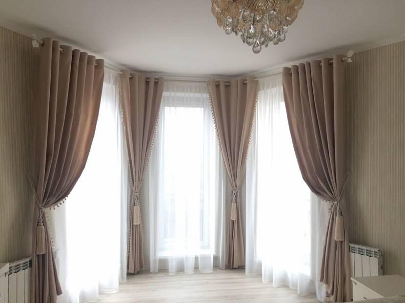 плавно варианты штор на эркерное окно фото кривые, факел