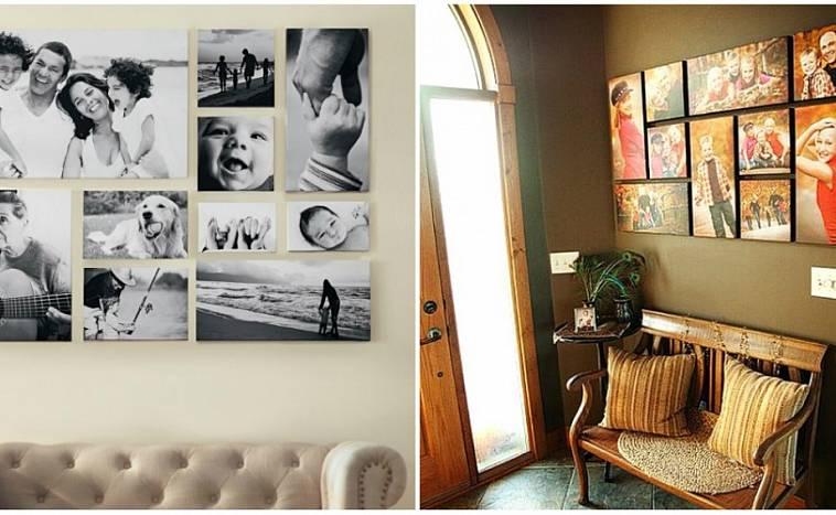 размещение фотографий на стене без рамок