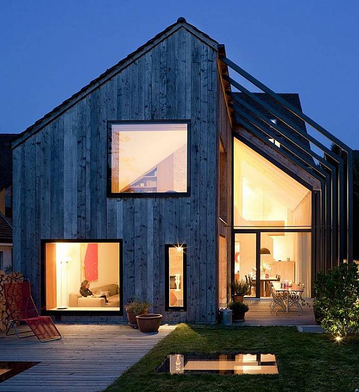 Каркасный дом из вертикального бруса