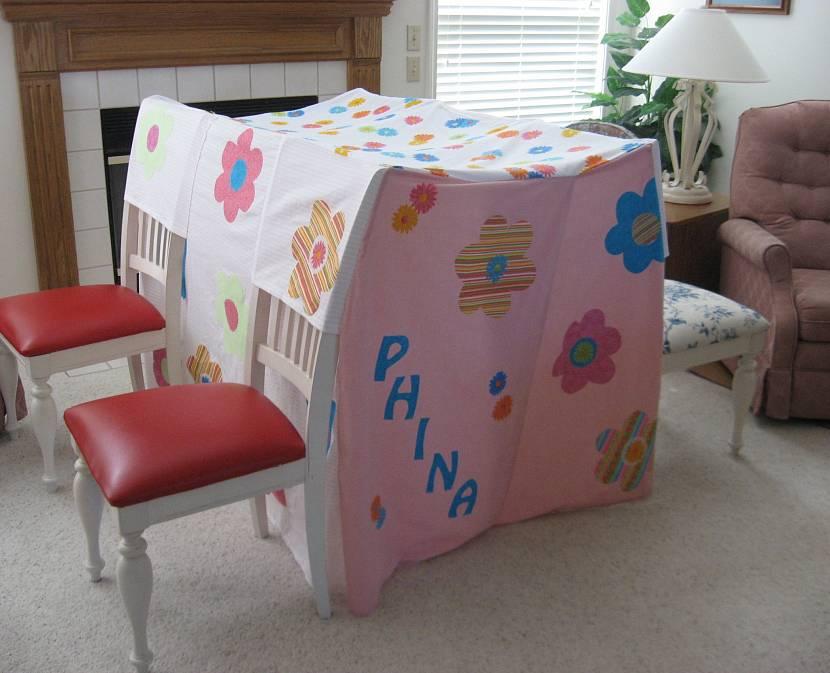 Пример дизайна шалаша для ребёнка