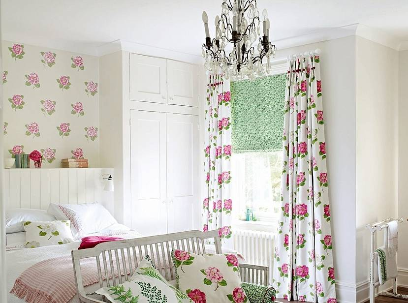 Зелено-розовые шторы