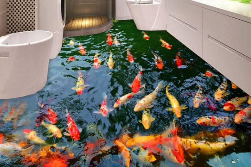Аквариум на полу ванной