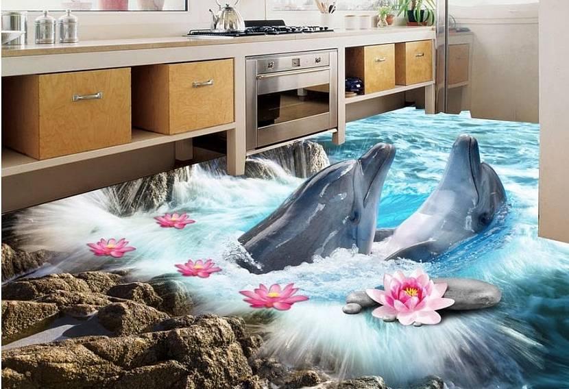 Дельфины на полу