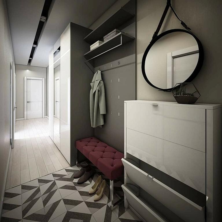 Современный дизайн узкого коридора фото