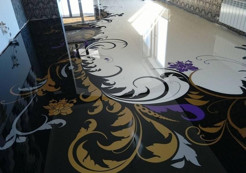 Наливной пол с растительным орнаментом