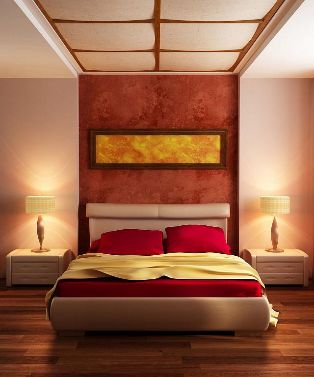 Теплая гамма цветов делает комнату уютной