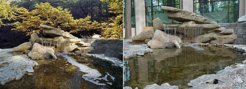 Искусственный водопад с прудом на приусадебном участке
