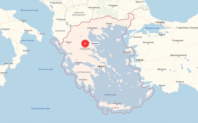Греция на карте Европы