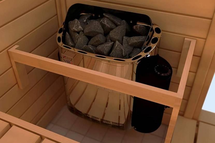 Для заполнения электрической каменки подходят камни маленького размера