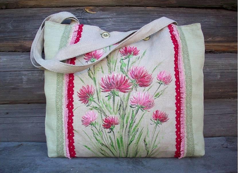 Раскрашивание тканевых сумок акриловыми красками